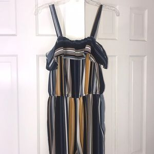 High Waisted Striped Jumpsuit/Romper